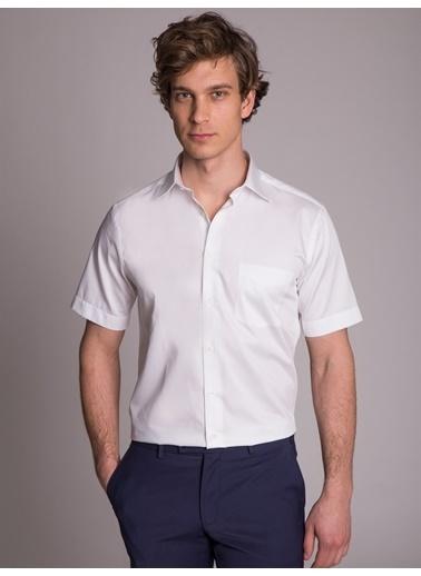 Dufy Beyaz Saten Kısa Kol Büyük Beden Klasık Erkek Gömlek - Battal Beyaz